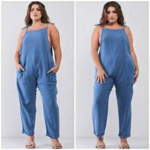 """HAUTE CURVE """"Denim"""" Blue Plus Size Woven Jumpsuit"""